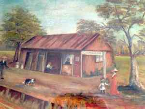 Ormiston Railway Station early 1930's (painting by Gwen Bruce)