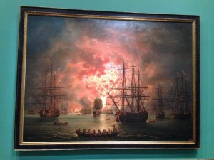 'Destruction of the Turkish fleet in the Bay of Chesme on 7 July 1770' by the artist Jacob Philipp Hackert