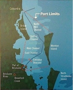 Map of Moreton Bay showing the main shipping channel