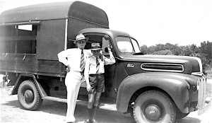 Emmett Kelly (left) and patients' truck at Peel Island 1940s