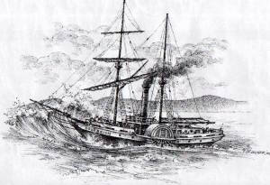 The 'Sovereign' attempting to cross the South Passage bar in 1847