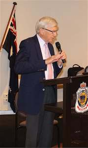 Collin Myers speaking to the Toondah Probus Club at their August General Meeting