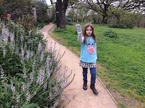 Clementine finding Pokemon in the extensive gardens surrounding the Heide museum