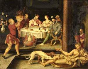 'Lazarus and the rich man' by Heinrich Aldegrever (German painter 1502–1555)