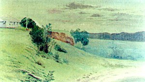 Oil painting by William Simmons showing the Jacksons' house.