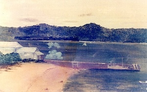 An oil painting by William Simmons in 1910 showing the beach below the Inebriates Home with Dunwich Benevolent Asylum in the background.