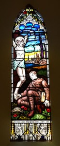 Stained glass church window in memory of the fallen soldiers during WWI