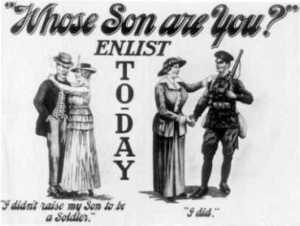 WWI poster urging mothers to support the war effort