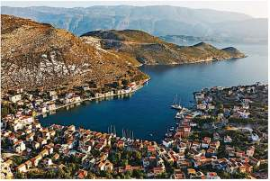 The beautiful harbour at the island of Kastellorizo